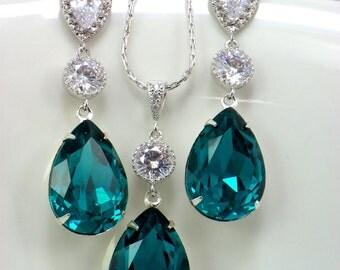 Zircon blue Bridal Necklace and earrings set, Dangle Swarovski Crystal Sterling Silver, weddings jewelry, Teardrop crystal bridal earrings
