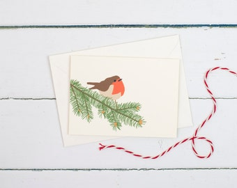 Christmas Robin on a branch greetings card