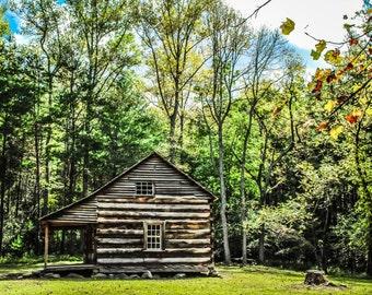Rustic Log Cabin Autumn Fine Art Print