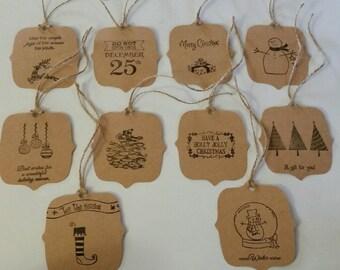 Handmade Christmas gift tags set of 10