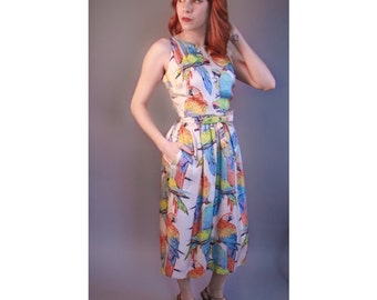 Gorgeous 1960's silk Parrot Novelty print dress