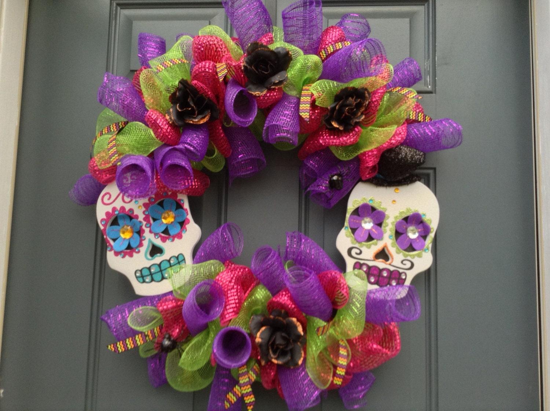 Day of the dead/sugar skull wreath