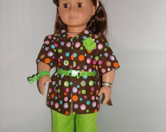 Lime green outfit, pants and pokadotted top