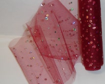 """Five Yds Holographic Colorful Sequin Dots Burgundy Red Tulle 6"""" Width 4 DIY-Costumes, Tutus, Decor, Party, Halloween, Mardis Gras, Christmas"""