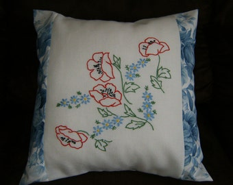"""Throw Pillow, Decorative Pillow, Vintage Pillow, Embroidered Vintage Pillow,  16"""" x 16"""" Pillow Cover with Embroidered Poppies & Daisys"""
