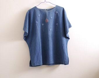 Two Dollars Sale - Vintage denim balloon 3D embroidered top