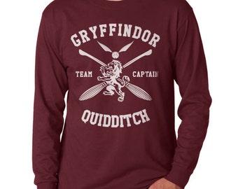 Gryffin Quidditch team Captain White print on Longsleeve MEN tee