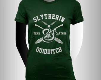 Slyth Quidditch team Captain WHITE print on Forest Green Women tee