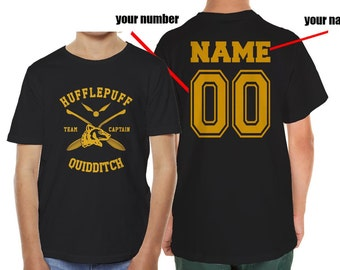 CAPTAIN - Custom back, Huffle Quidditch team Captain on YOUTH tee