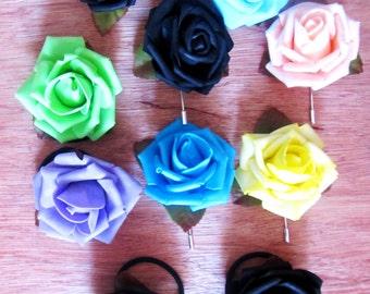 Scrunchy Rose, pin Rose, Scrunchy flower, pin flower, different colors.  Hair Accessories, Elastics, Brooch