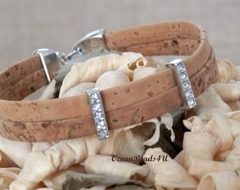 Natural Cork Bracelet C,  Unisex Portuguese Cork Bracelet, Vegan Bracelet,  Kork Armband