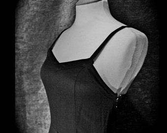 Elegant Long Black Vintage Crepe dress Size UK8