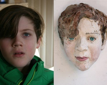 Your Child's Portrait, sculpture, customised portrait, ceramic, 3d, mask, art, wall object, Saskia de Rooy sculptor, capture time, youth