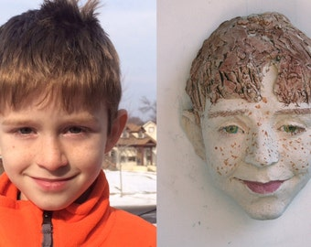 Portrait of a Boy, customised portrait, 3d, sculpture,special, gift, wall object, capture time, ceramic, Skype, Saskia de Rooy sculptor