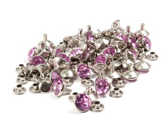 Pink Synthetic Crystal Rivets, 10mm