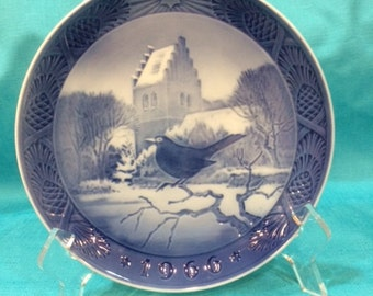 Royal Copenhagen Blackbird at Christmas Time Plate