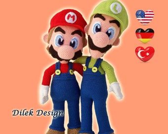 CROCHET PATTERN - Mario & Luigi - Amigurumi - Pattern - Super Mario Bros pattern - Pattern Deal - Doll - Toy - Baby shower - Dilek Design