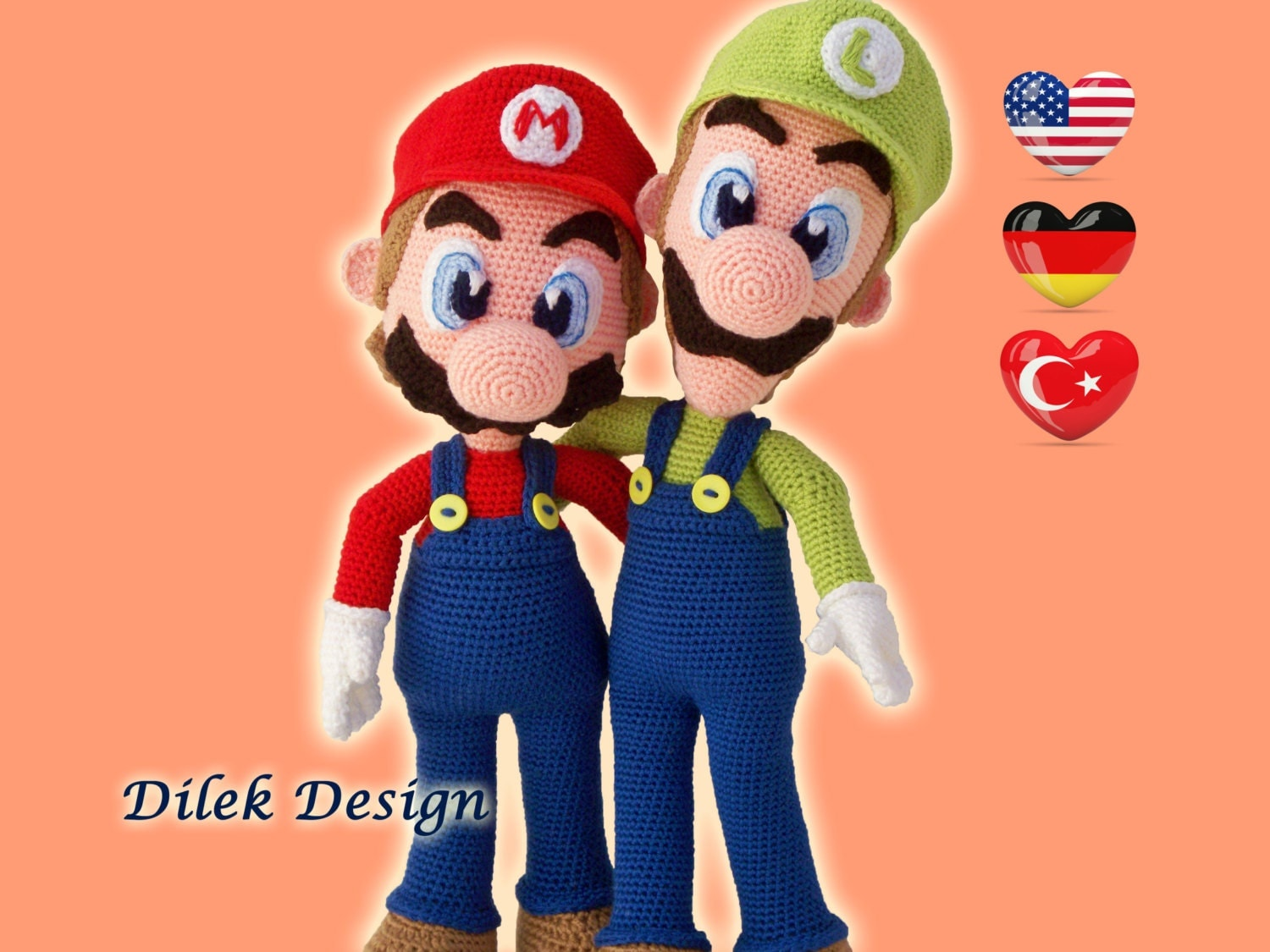 Behang Mario Bros ~ CROCHET PATTERN Mario& Luigi Amigurumi Pattern Super Mario Bros pattern Pattern Deal