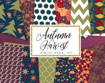 Autumn Harvest Digital Paper Set | Fall Digital Papers | Autumn Green & Blue | Woodland Papers | Floral Papers | Fall Harvest Set of 12 JPEG