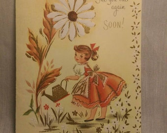 Garden Lady vintage get well soon card 1970s unused with envelope