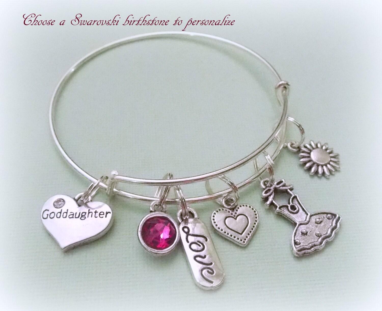 Gift For Goddaughter Birthstone Necklace Sterling By: Goddaughter Charm Bracelet, Gift For Goddaughter, Gift