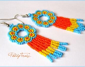 Earrings Beaded Dangle Spring Earrings jewelry long bead  orange yellow blue fringe earrings flowers earrings Spring Break