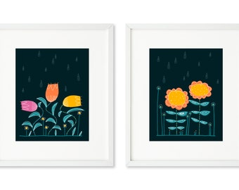 Rain Flowers - SET OF 2 - 8x10 prints, Tulips, Sunflowers, rain drops, night rain, flower dance, graphic flowers, contemporary flowers rain