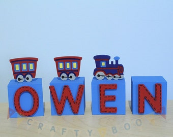Personalised Wooden Letter Blocks, Boys Name blocks, Train themed blocks,