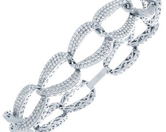 Beautiful Ladies Sterling Silver bracelet with CZ Stones #BR0002