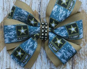 U.S. Army 4 inch pinwheel hair bow