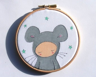 Little Grey Mouse,Woodland Nursery, Room Decor, Animal Wall Art, Hoop Art, Baby Wall Art