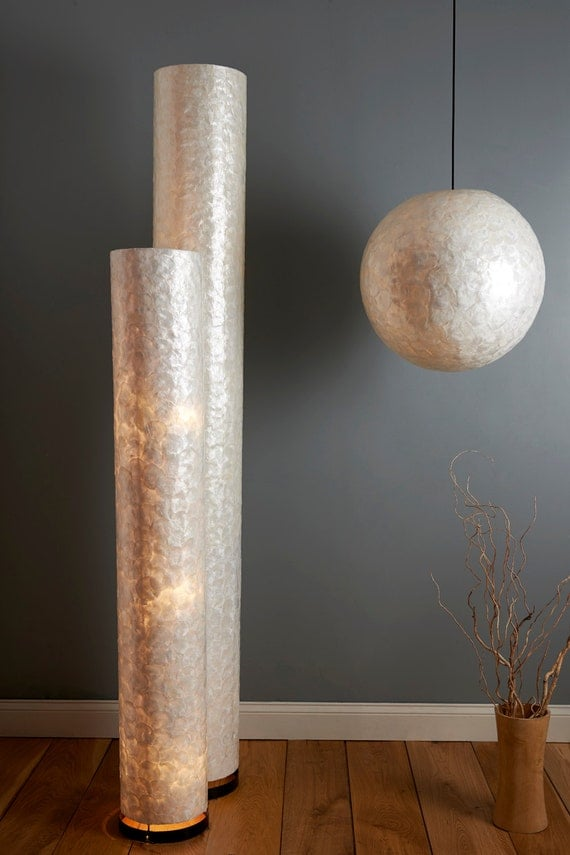 Items similar to tall capiz shell floor lamp 2 metres high on etsy aloadofball Image collections