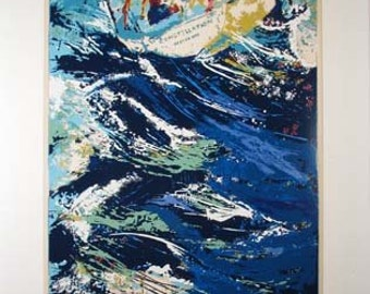 """Leroy Neiman """"Constellation in Oyster Bay""""  sailing print signed and numbered"""