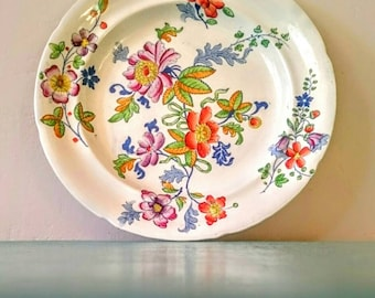 Rare Antique Genuine Opaque China, English ironstone handpainted floral plate, possibly Don Pottery C.1820