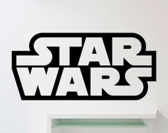 Star Wars Logo Wall Decal Word Superhero Movies Vinyl Sticker Home Room Interior Decoration Waterproof High Quality Mural (262xx)