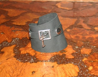Leather cuff key charm, studded upcycled bracelet