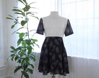 Flowy handmade 70s roses dress