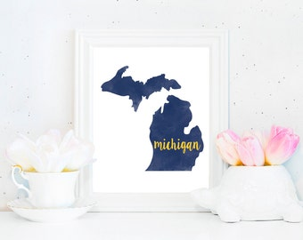 University of Michigan Wolverines Watercolor State Printable (8x10)