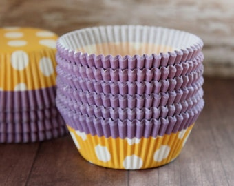 Purple, orange and white cupcake liners set of 25-cupcake liners, orange cupcake wrappers, halloween cupcake wrappers