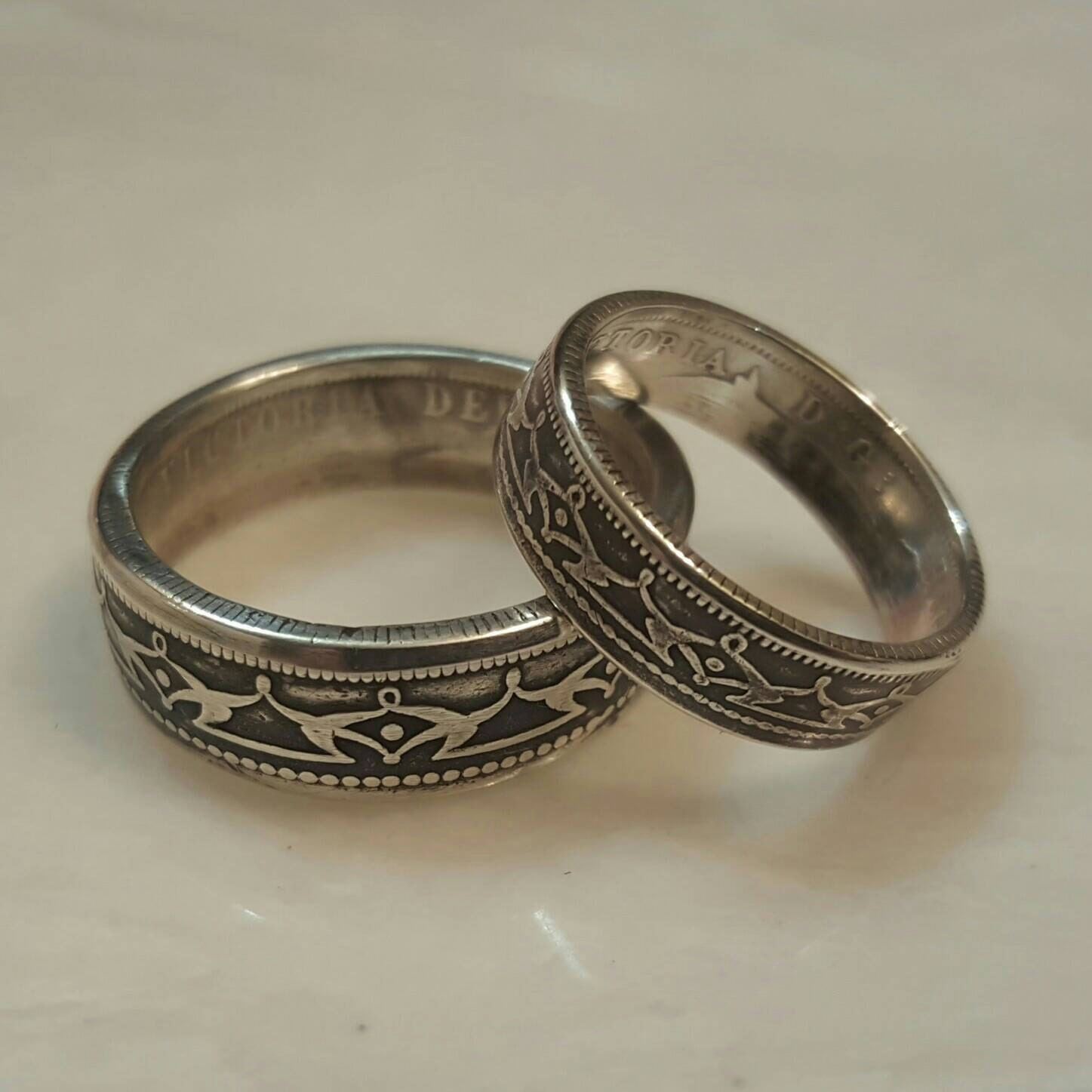 Canadian Coin Rings His and Hers Vintage Wedding Ring Set