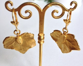 Earrings real gold leaves mates