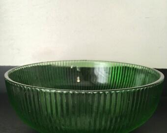E. O. Brody Green Glass Striped Bowl