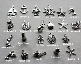 Add on item, add a nautical beach theme charm to your item