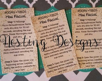 Rodan + Fields Mini Facial Cards**Instant Download**