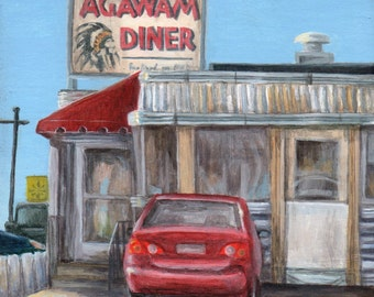 Giclee of Diner Painting, Limited Edition Art Print of Agawam Diner by Debbie Shirley