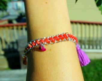 Woven Chain & Tassel Bracelet