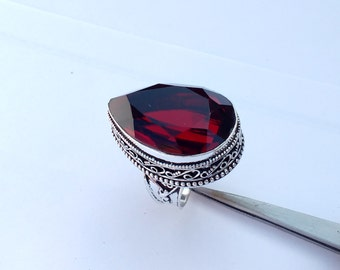 GARNET Ring - Size 9 Ring - 925 Sterling Silver Ring - Garnet hydro Silver Ring - January Birthstone Ring