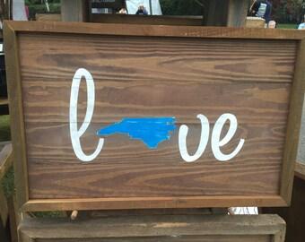 "Reclaimed lumber sign ""NC Love"""