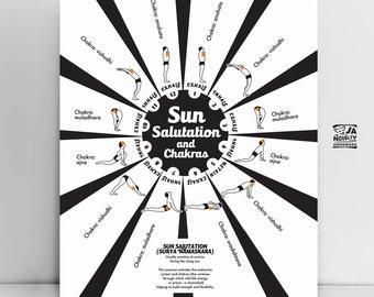 San Salutation black and white, Yoga Postures Print, Sun salutation, yoga print, yogadecor, yoga studio decor, yoga wall art, yoga gift