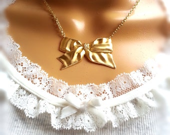 Matte Gold Bow Charm Necklace Gift For Her Women's Gift